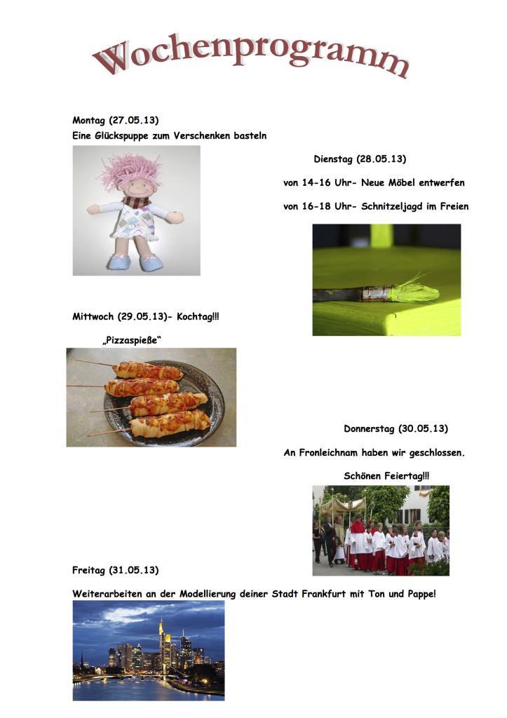 Wochenprogramm 27.05. - 31.05.13