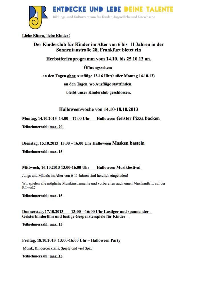Das Programm Herbstferien 13
