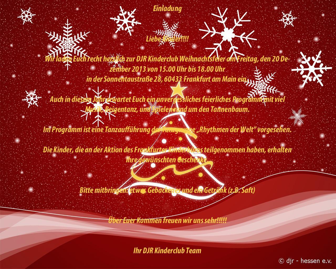 einladung weihnachten 2 | djr kreisgruppe frankfurt am main, Einladungen