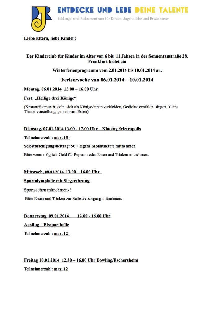 Das Programm Winterferien 2014