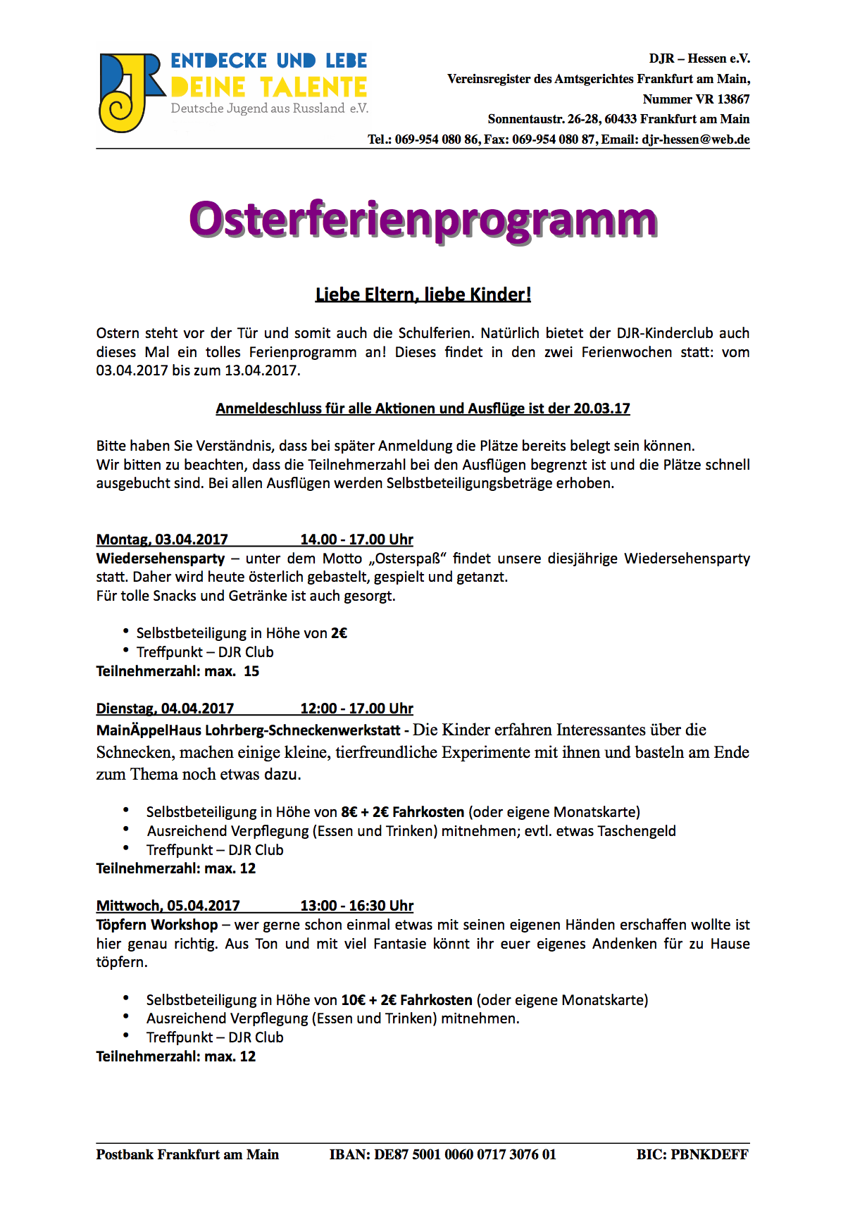 Osterferienprogramm