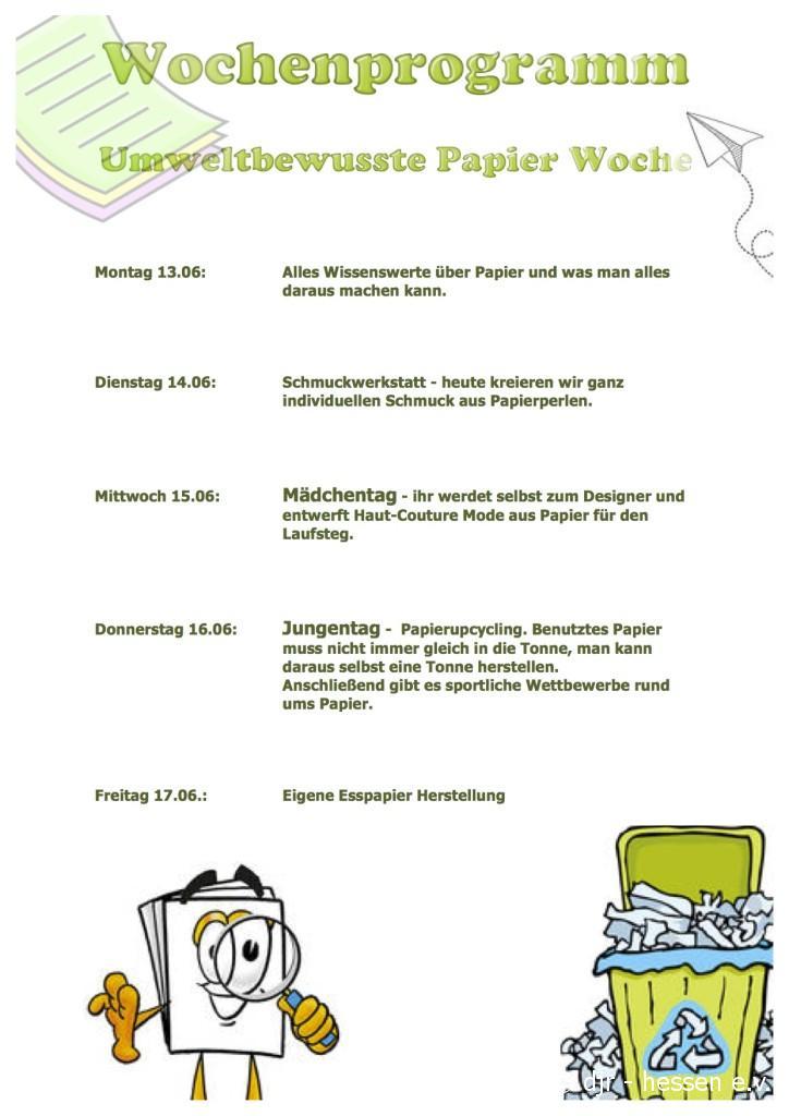 Wochenprogramm Papierwoche