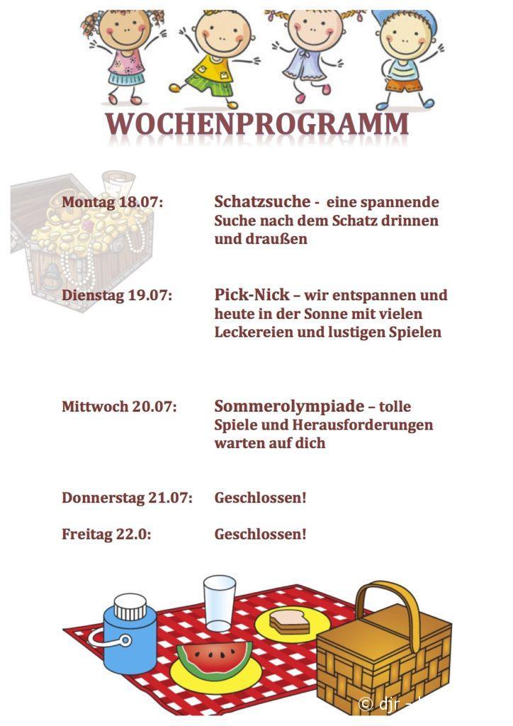 Wochenprogramm Woche vor Ferien