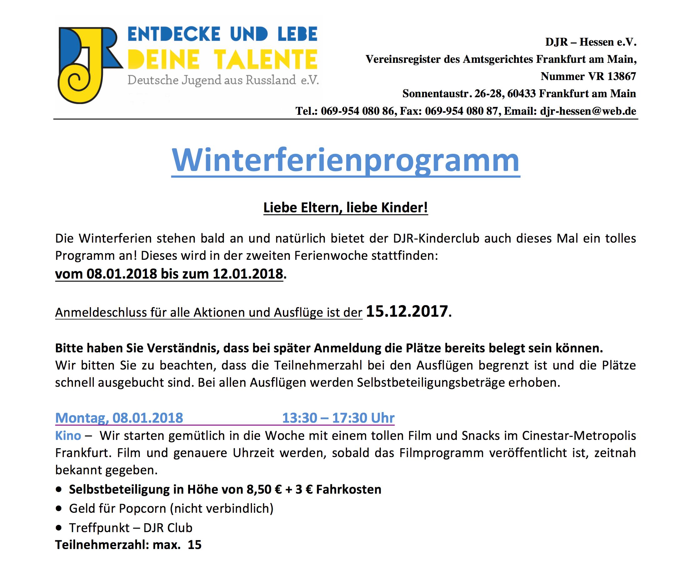 Winterferienprogramm